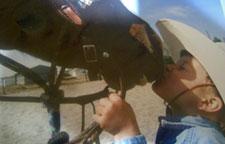 Caden kissing a horse